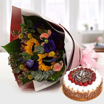 Alluring Flower Bouquet With Blackforest Cake: Flowers & Cakes