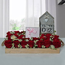 Eye Catching Flower Arrangement With Assorted Chocolates: New Year Gifts