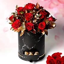 Golden Moments With Roses: Valentines Day Gifts