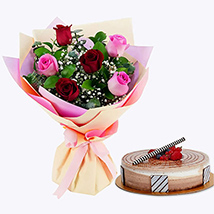 Gorgeous Roses Bouquet With Triple Chocolate Cake: Flowers & Cakes