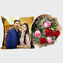 Pretty Roses with Personalised Cushion: Personalized Gifts