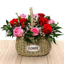 Red and Pink Roses Mini Basket: Valentines Gifts