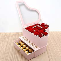 Roses and Chocolates Pink Heart Box: Valentines Gifts