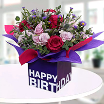 Mixed Flowers In Square Glass Vase: Birthday Gift Ideas