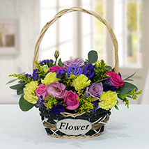 Vibrant Flower Basket: New Arrival Gifts