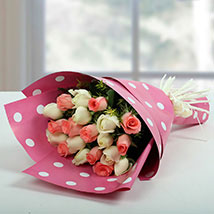 White N Pink Roses Bunch: Mother's Day Gift Ideas
